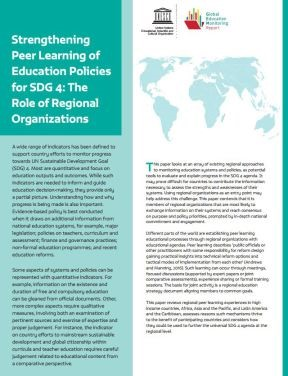 Strengthening Peer Learning of Education Policies for SDG 4: The Role of Regional Organizations