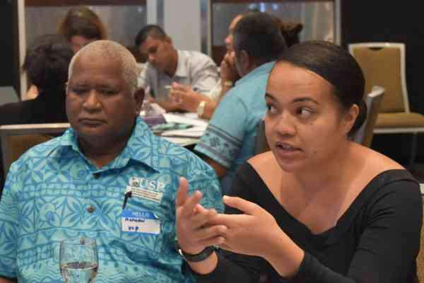 Charlotte Pihigia of Niue during one of the group discussions at the meeting