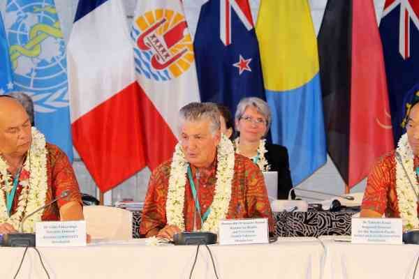 SPC Director General Dr Colin Tukuitonga, French Polynesia's Minister of Health Dr Jacques Raynal, and WHO Western Pacific Regional Director Dr Takeshi Kasai during discussions at the 13th Pacific Health Ministers Meeting.