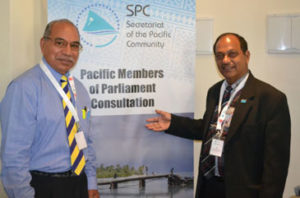 Fiji's MP, Honourable Brij Lal, and Niue's MP, Honorable Fisa Pihigia, at the consultation in Nadi today.