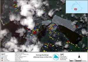 Satellite image: Damage to buildings in Port Vila, Vanuatu. Image created by Digital Globe & SPC Geoscience Division