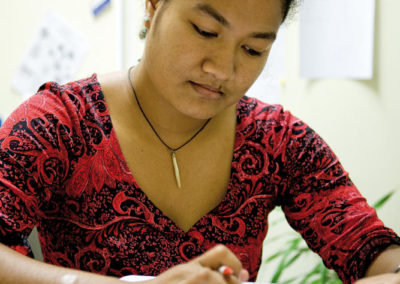 Pacific Women editing questionaires
